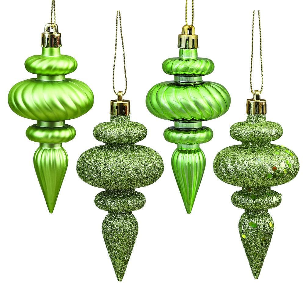 "8PK - 4"" Celadon Finial 4 Finish Assorted Shatterproof Christmas Ornaments"