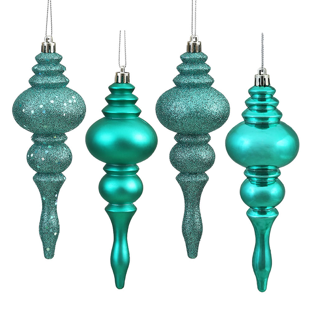 "8PK - 7"" Teal Finial 4 Finish Assorted Shatterproof Christmas Ornaments"
