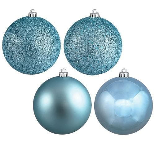 "18PK - 1"" Baby Blue 4 Finish Assorted Ball Christmas Ornaments"