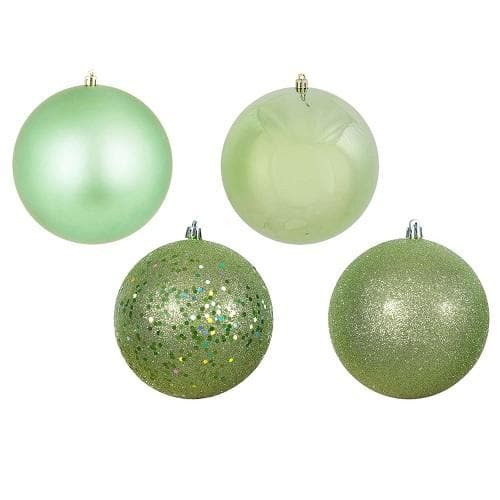 "18PK - 1"" Celadon 4 Finish Shatterproof Christmas Ball Ornaments"