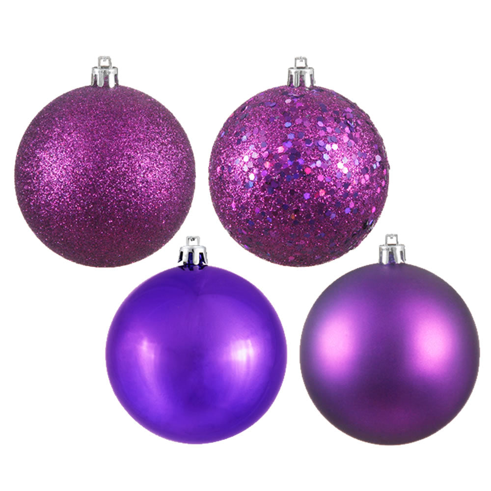 Vickerman 3 in. Plum Ball 4-Finish Asst Christmas Ornament