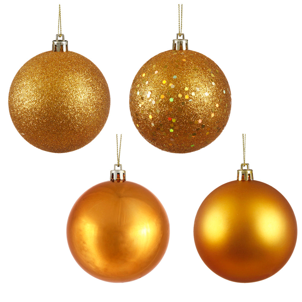 Vickerman 3 in. Antique Gold Ball 4-Finish Asst Christmas Ornament