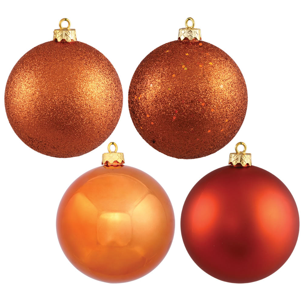 Vickerman 4 in. Burnished Orange Ball 4-Finish Asst Christmas Ornament