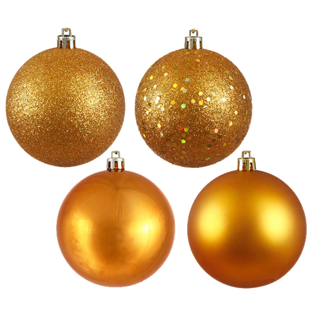 Vickerman 4 in. Antique Gold Ball 4-Finish Asst Christmas Ornament