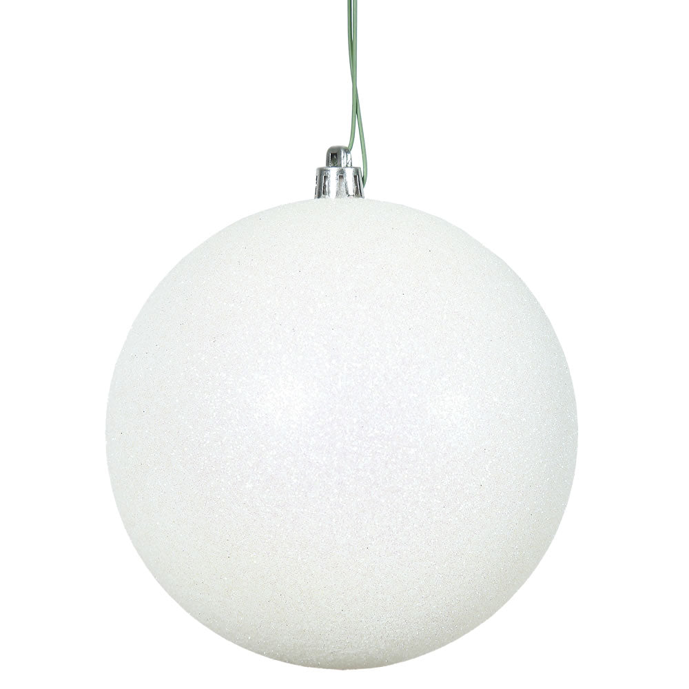 "12PK - 3"" White Glitter Shatterproof Christmas Ball Ornament"