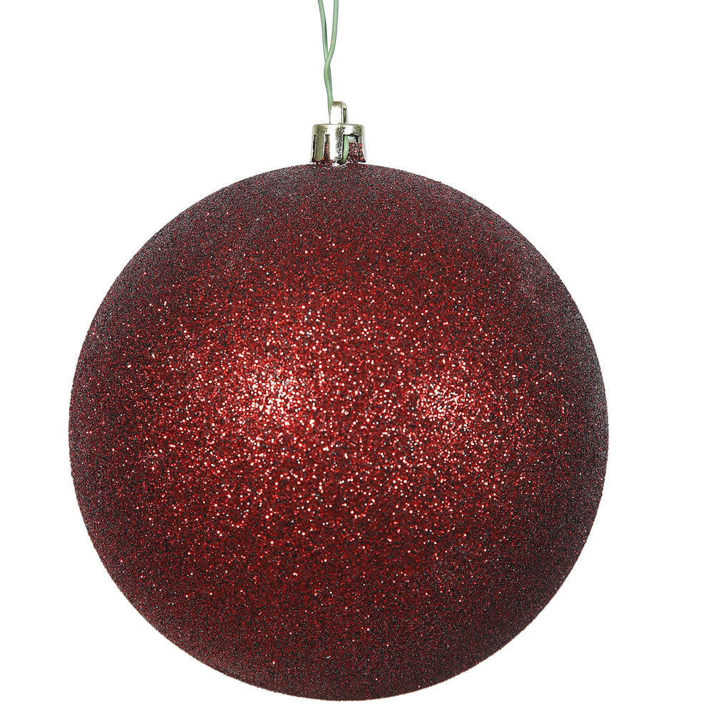 "10"" Burgundy Glitter Shatterproof UV Resistant Christmas Ball Ornament"