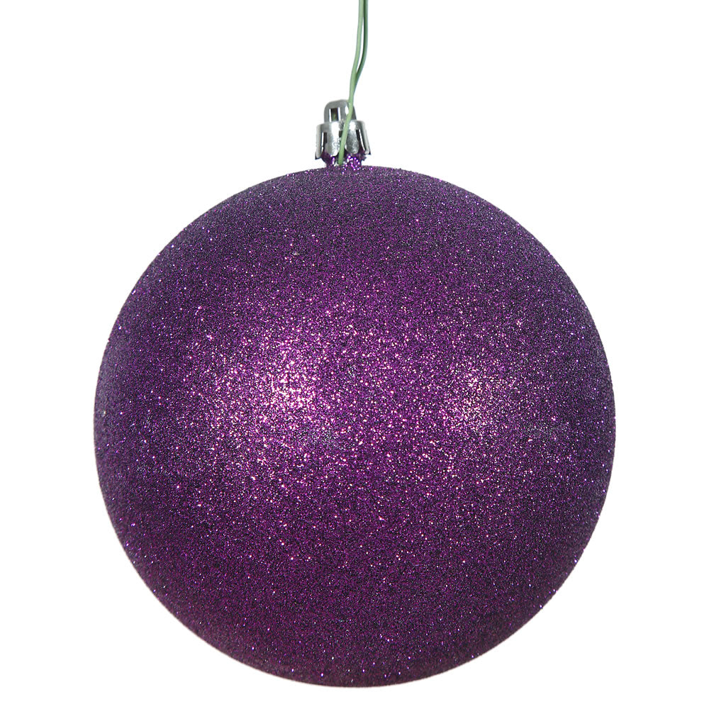 "10"" Purple Glitter Shatterproof UV Resistant Christmas Ball Ornament"
