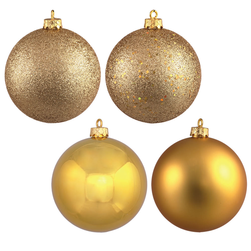 "6"" Gold 4 Finish Ball Ornament Box of 4"