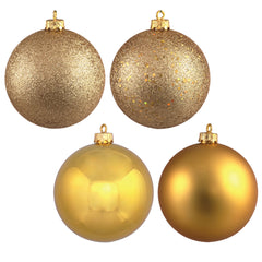 "1"" Gold 4 Finish Ornament Asst 18/Box"