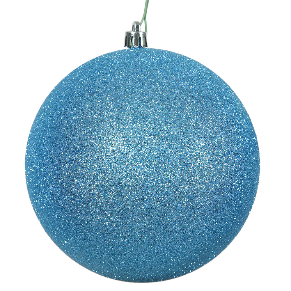 Vickerman 4.75 in. Turquoise Glitter Ball Christmas Ornament
