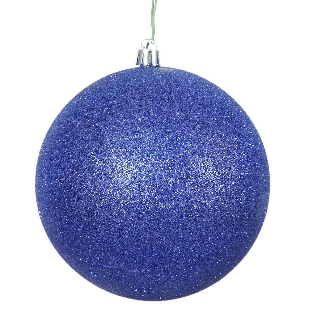 "12"" CobaLight Blue Glitter Shatterproof UV Resistant Christmas Ball Ornament"