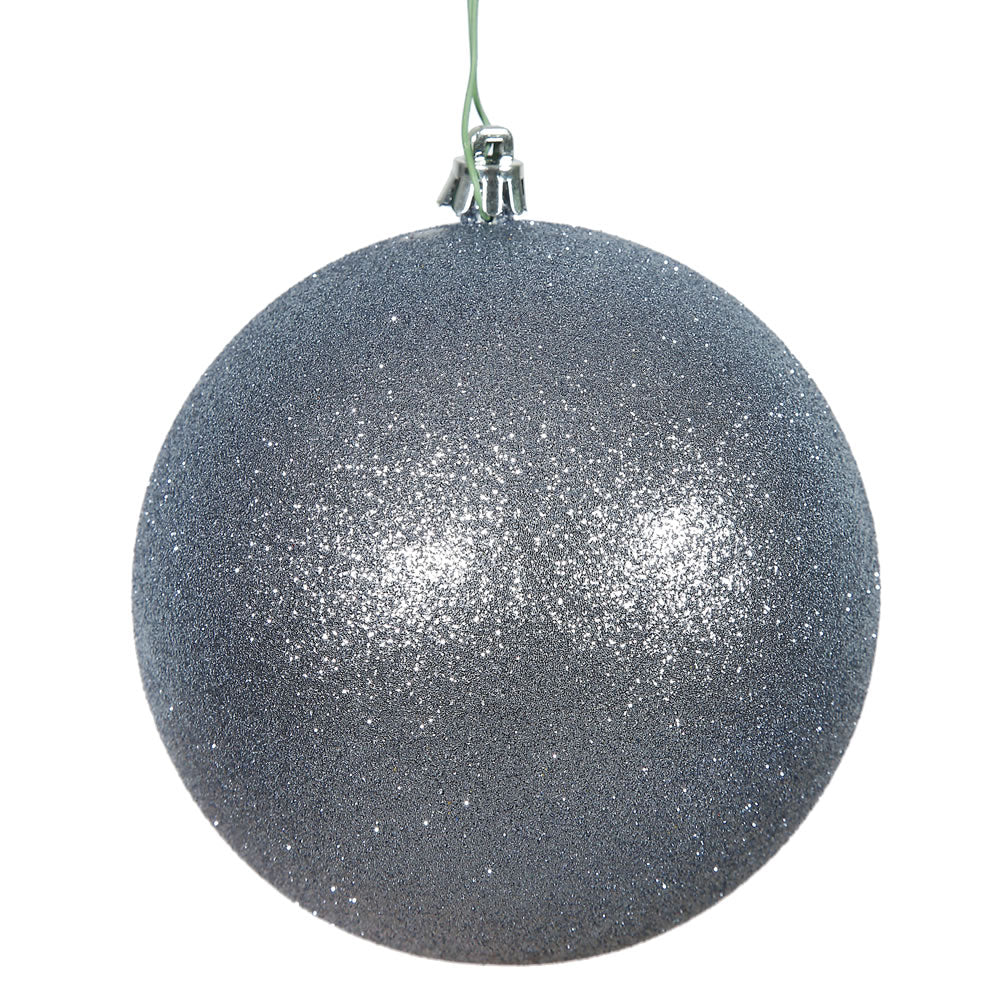 "12PK - 3"" Pewter Glitter Shatterproof Christmas Ball Ornament"