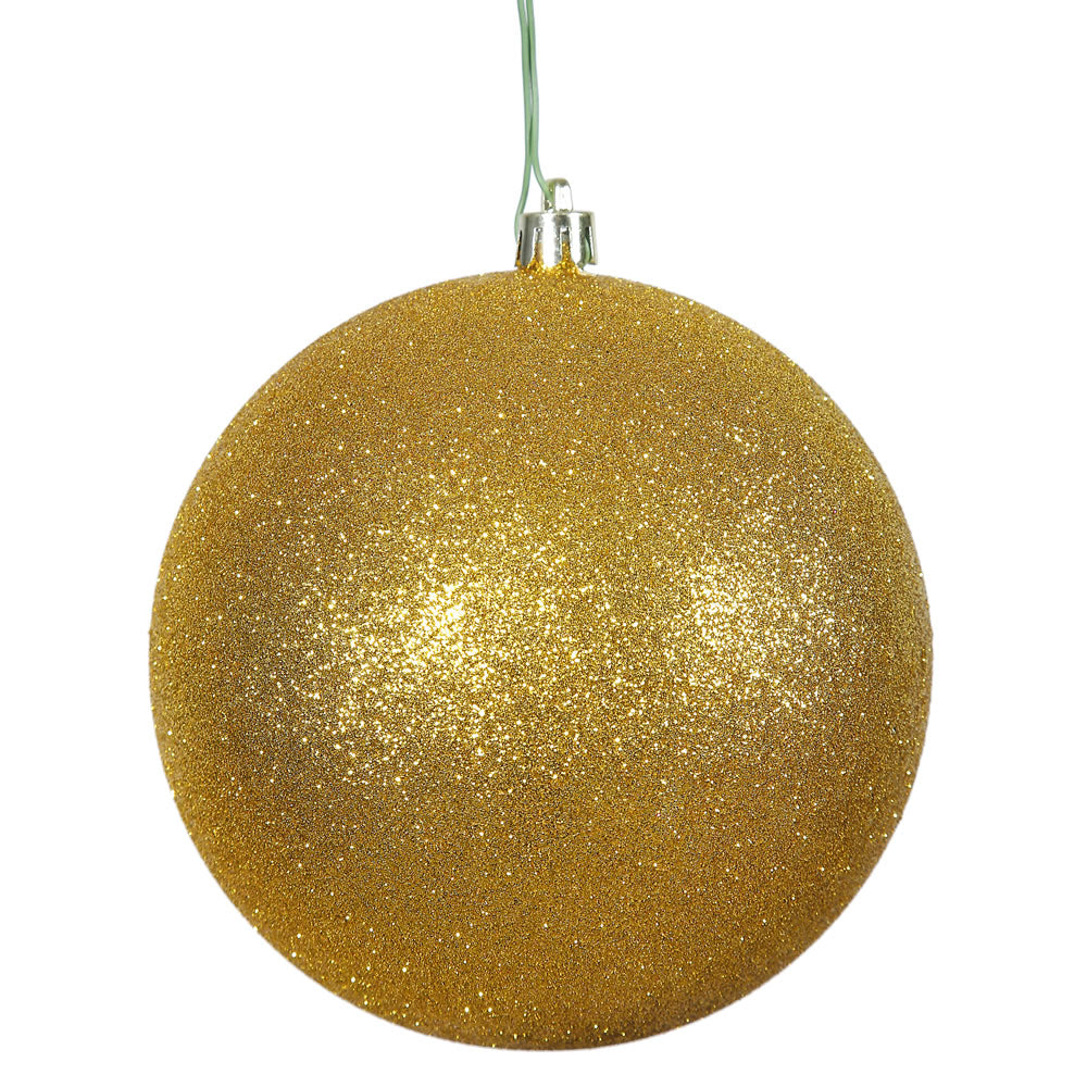 "12PK - 3"" Antique Gold Glitter Shatterproof Christmas Ball Ornament"