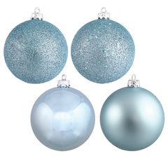 "4"" Baby Blue 4 Finish Ornament Asst 12/Box"
