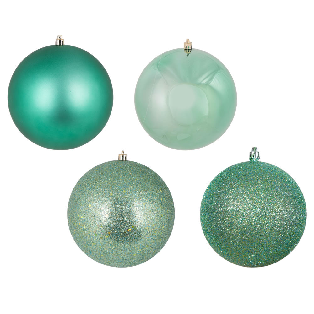 "24PK - 2.4"" Seafoam 4 Finish Shatterproof Assort Christmas Ball Ornaments"