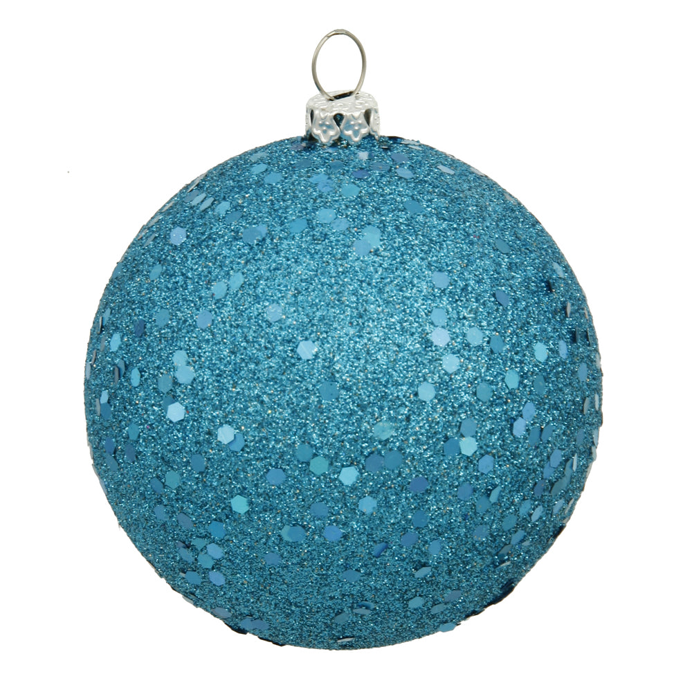 "6"" Turquoise Sequin Ball Drilled 4/Bag"