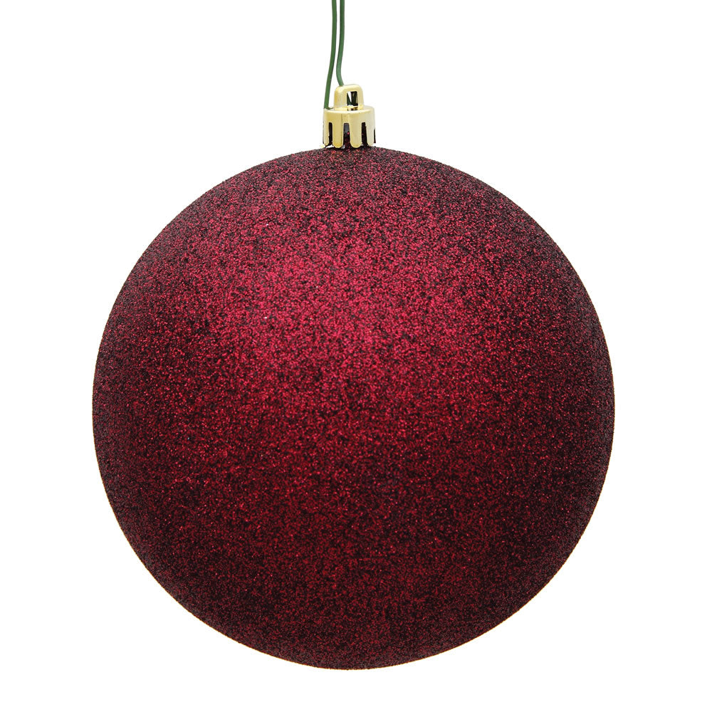 Vickerman 4 in. Burgundy Glitter Ball Christmas Ornament