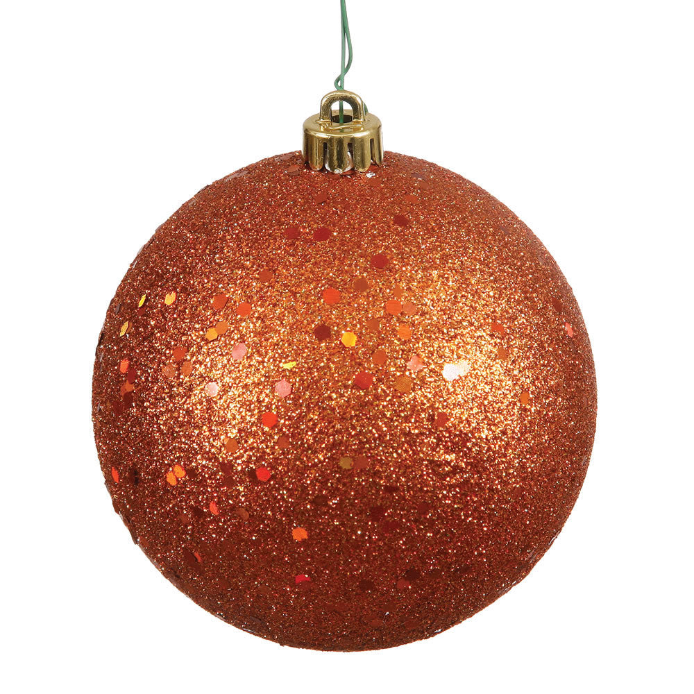 Vickerman 12 in. Burnished Orange Ball Christmas Ornament
