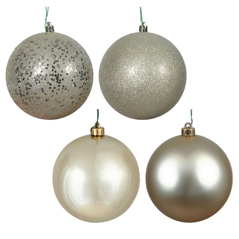 Vickerman 2.4 in. Champagne Ball 4-Finish Asst Christmas Ornament