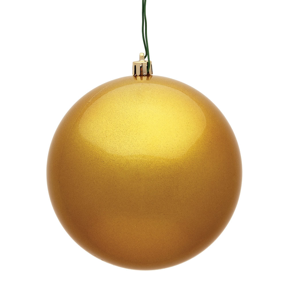Vickerman 3 in. Mustard Candy Ball Christmas Ornament