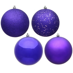 Vickerman 3 in. Purple Ball 4-Finish Asst Christmas Ornament
