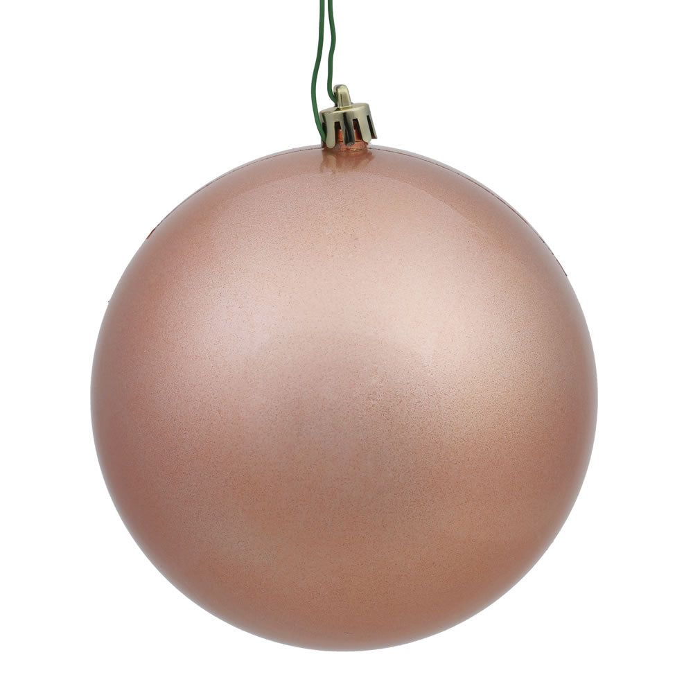 Vickerman 4 in. Rose Gold Candy Ball Christmas Ornament