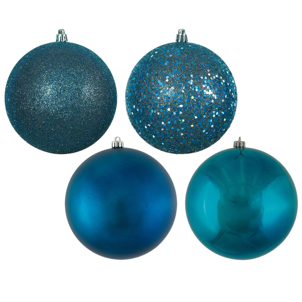 Vickerman 6 in. Sea Blue Ball 4-Finish Asst Christmas Ornament