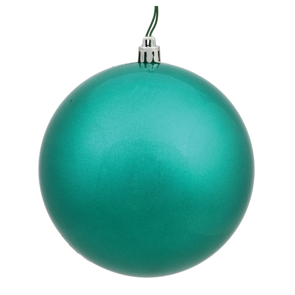 Vickerman 8 in. Teal Glitter Ball Christmas Ornament