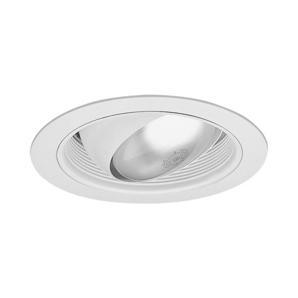 6 in. White Regressed Eyeball Recessed Trim with Baffle