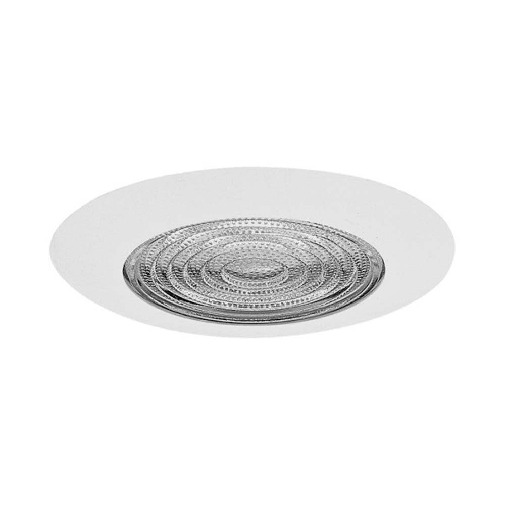 6 in. White Recessed Plastic Shower Trim with Glass Fresnel Lens