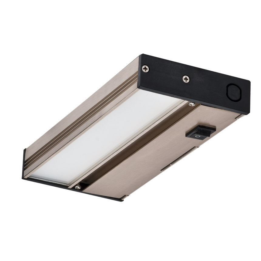 NICOR Linkable 8 in. Slim Dimmable Nickel LED Under Cabinet Light Fixture