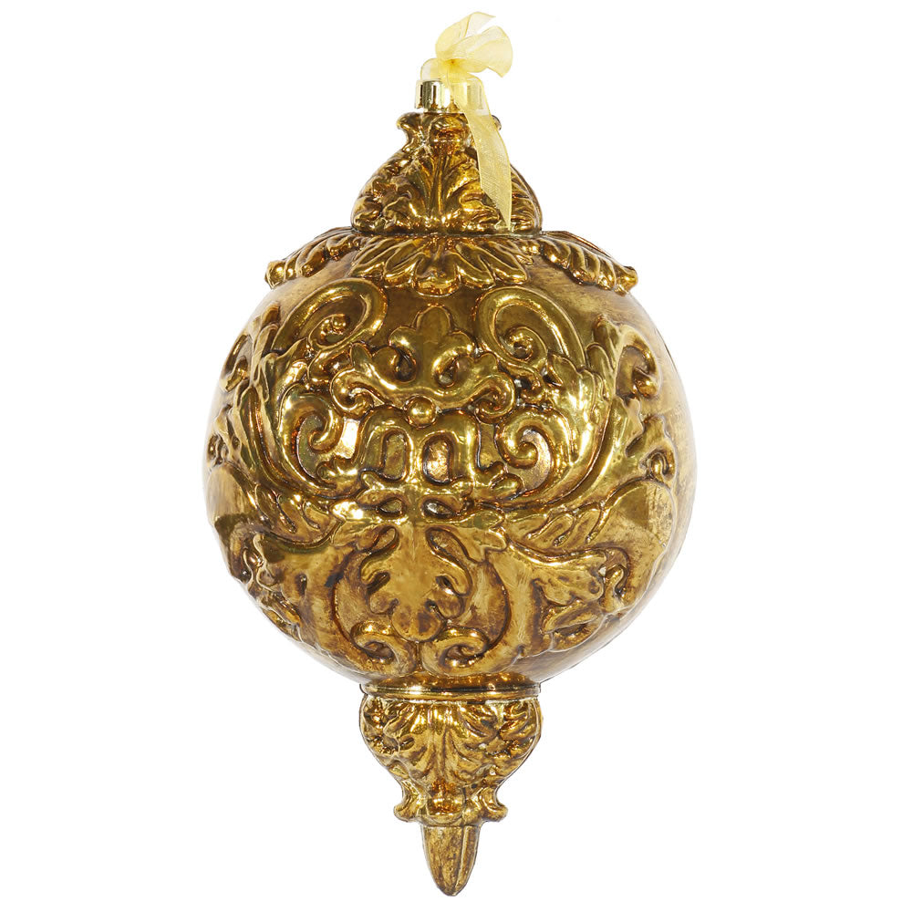 "12"" Antique Gold Ball Finial Ornament 1/Bx"