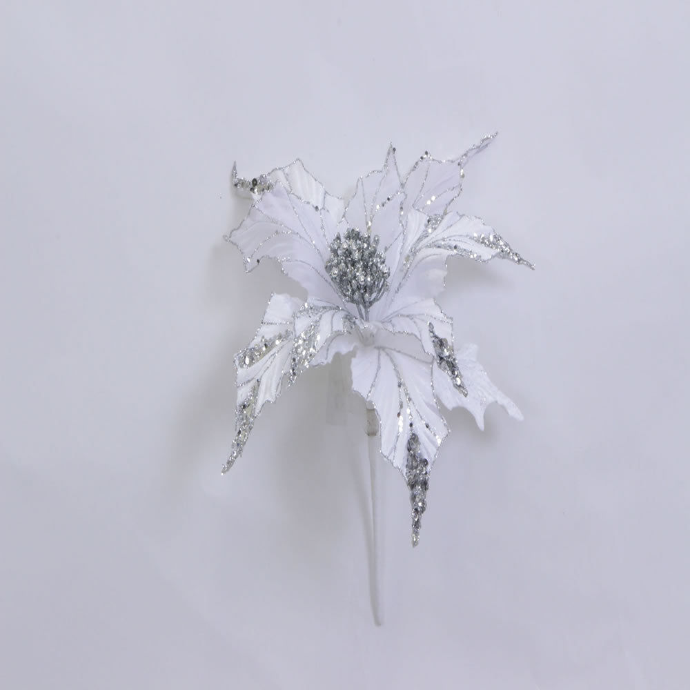 "31"" White Glitter Poinsettia 13"" Flower"
