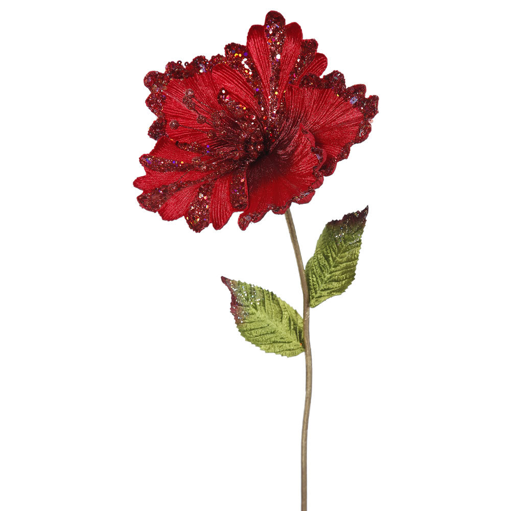 "3PK - 23"" Red Hibiscus 8"" Glitter Flower Decorative Christmas Pick"