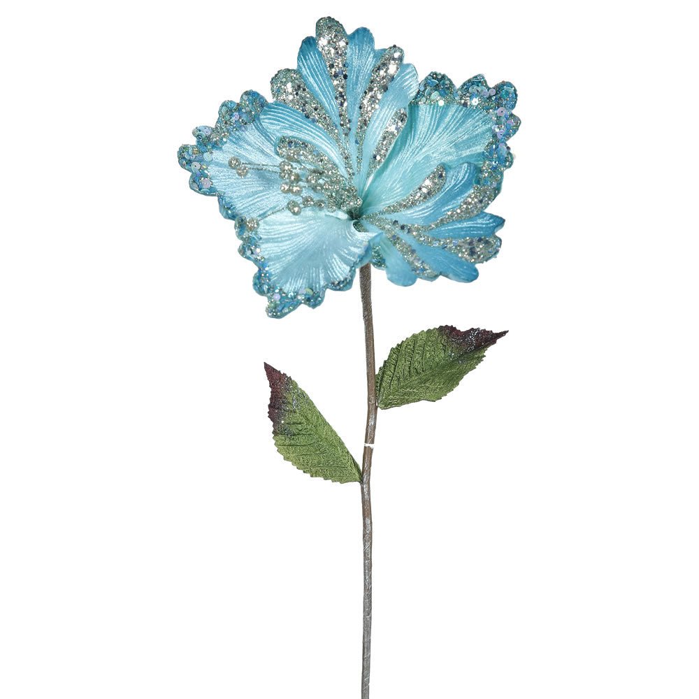 "3PK - 23"" Sea Blue Hibiscus 8"" Glitter Flower Decorative Christmas Pick"