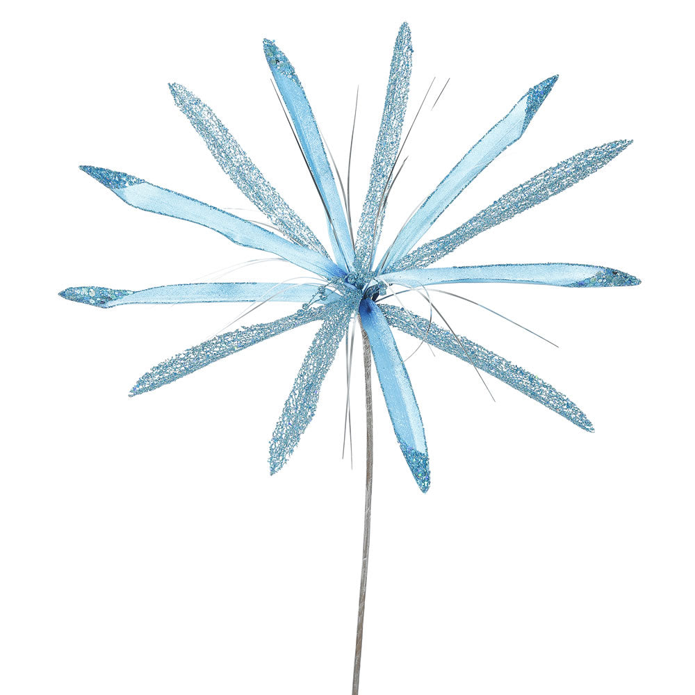 "3PK - 24"" Sky Blue Velvet Papyrus 20"" Glitter Flower Decorative Christmas Pick"