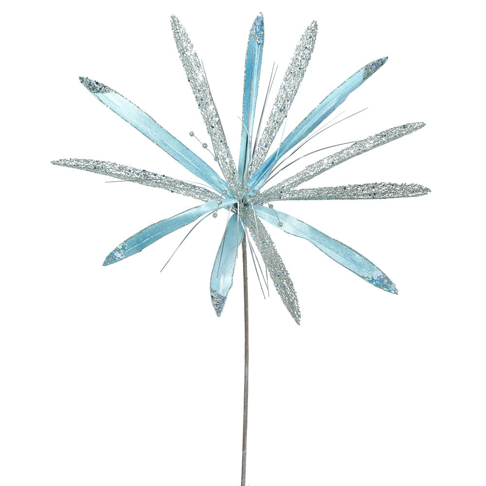 "3PK - 24"" Sea Blue Velvet Papyrus 20"" Glitter Flower Decorative Christmas Pick"