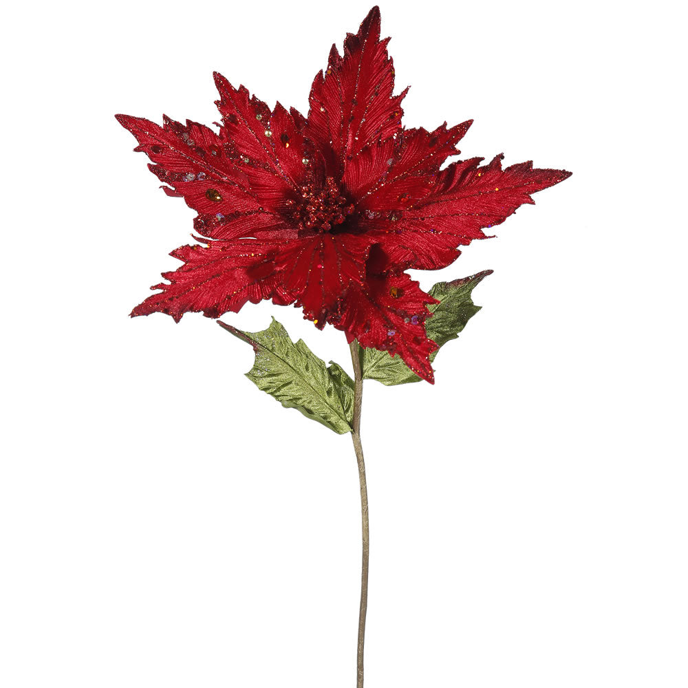 "3PK - 26"" Red Velvet Poinsettia 13"" Glitter Flower Decorative Christmas Pick"