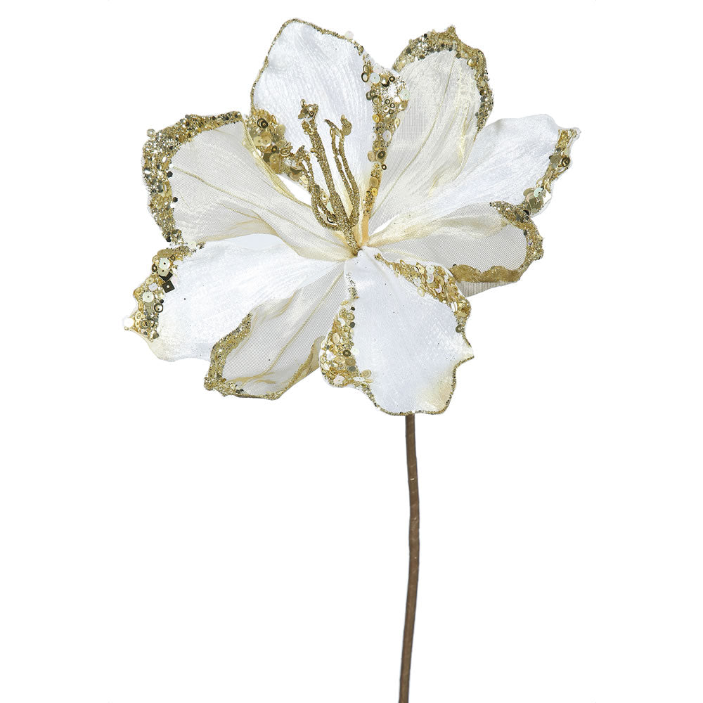 "3PK - 20"" Cream Velvet Amaryllis 9"" Glitter Flower Decorative Christmas Pick"