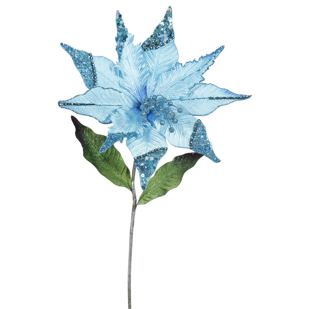 "3PK - 26"" Sky Blue Velvet Poinsettia 12"" Glitter Flower Decor Christmas Pick"