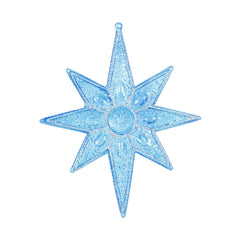 "6PK - 7"" Blue Sculpted 8 Point Star Shatterproof w/ Glitter Christmas Ornament"