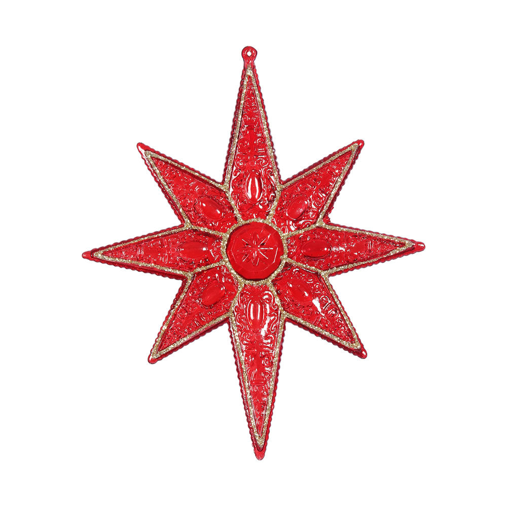 "6PK - 7"" Red Sculpted 8 Point Star Shatterproof w/ Glitter Christmas Ornament"