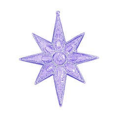 "6PK - 7"" Purple Sculpted 8 Point Star Shatterproof w/ Glitter Christmas Ornament"