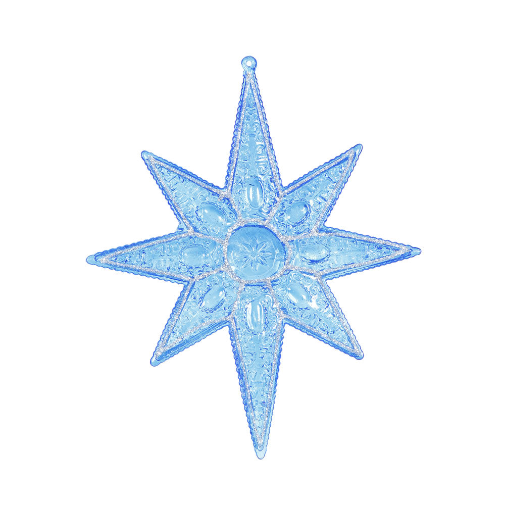 "6PK - 7"" Turquoise Sculpted 8 Point Star Shatterproof Glitter Christmas Ornament"