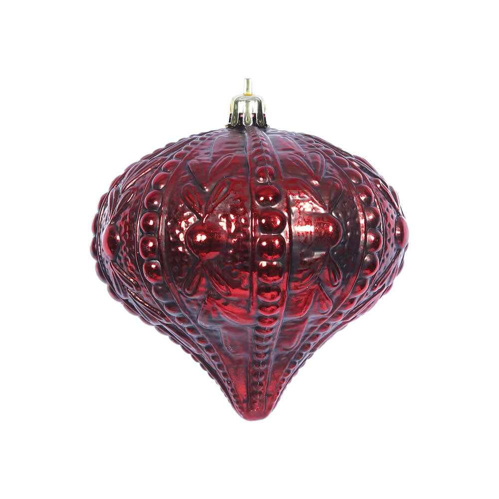 "6PK - 4"" Antique Red Sculpted Onion Christmas Ornament"