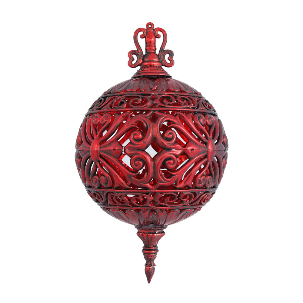 "2PK - 6"" Antique Red Sculpted Christmas Ball Ornament"