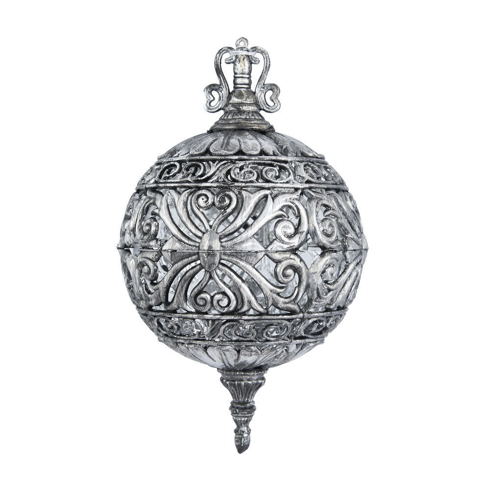 "2PK - 6"" Antique Silver Sculpted Christmas Ball Ornament"