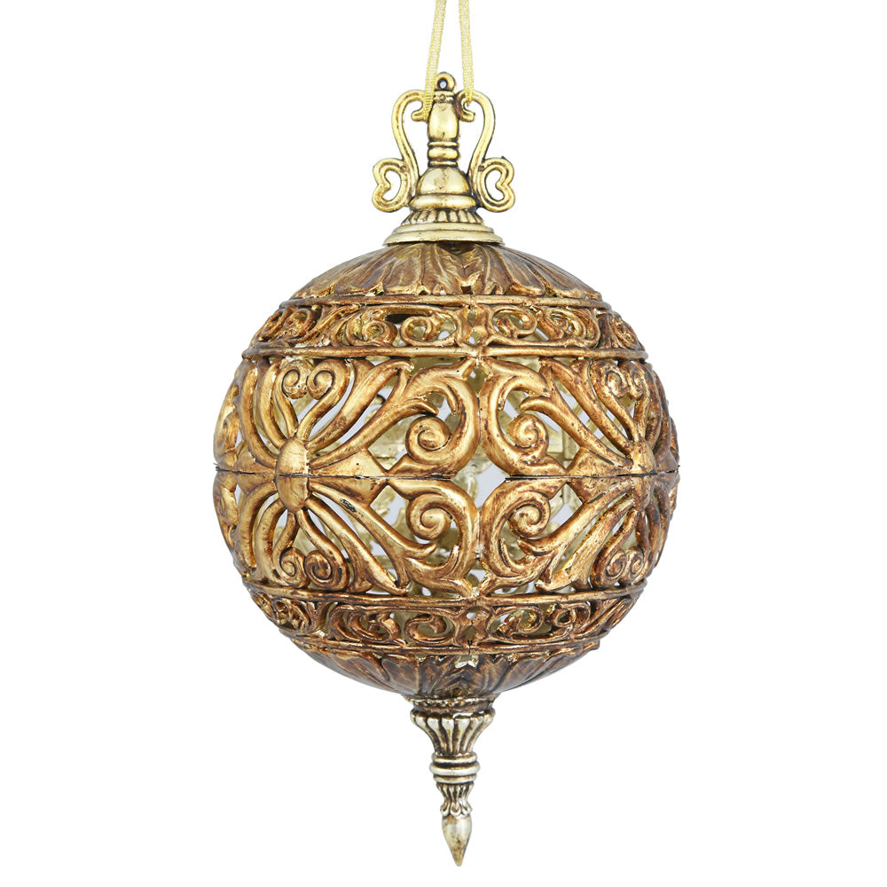 "2PK - 6"" Antique Gold Sculpted Christmas Ball Ornament"