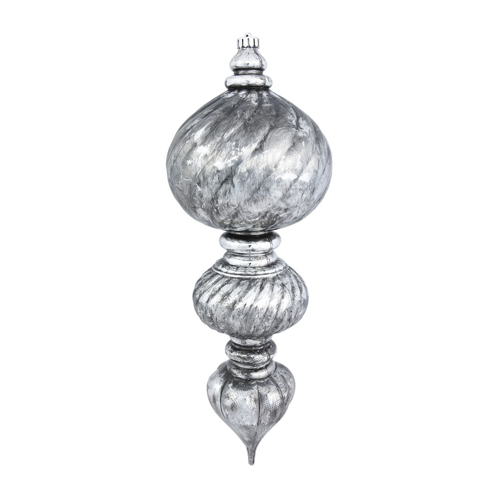 "22"" Antique Silver Sculpted Finial Christmas Ornament"