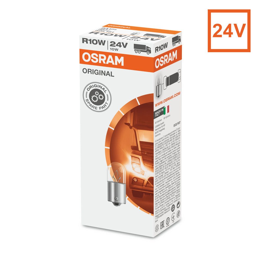10PK - Osram 5637 R10W 24V 10W Automotive Bulb Engineered for Trucks and Buses